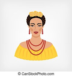 Mexican woman in traditional clothes.