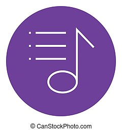 Musical note line icon. - Musical note thick line icon with...