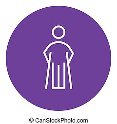 Man with crutches line icon. - Man with crutches thick line...
