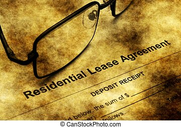 Residential lease agreement grunge concept