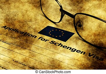 Application for schengen visa grunge concept