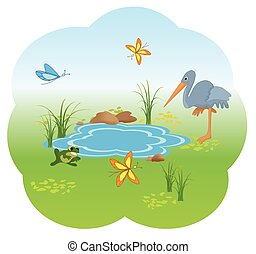 nature with blue lake - vector illustration of nature with...