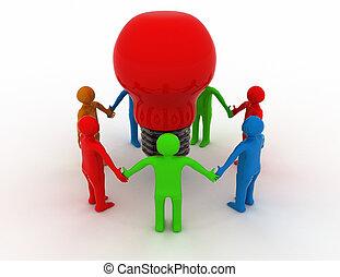 3d  Brainstorm group concept