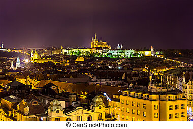 Night view of Prague from the Old Town Hall