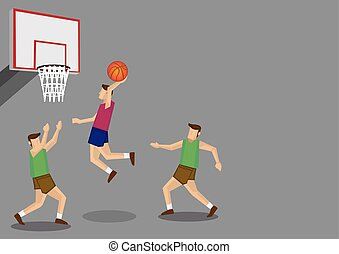 Basketball Players Slam Dunk Shot Illustration - Three...