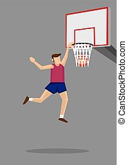 Slam Dunk Cartoon Illustration - Basketball player leaps...