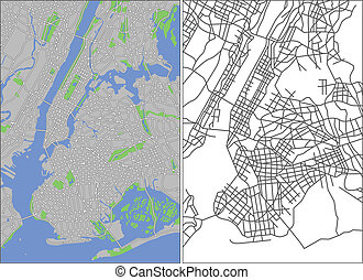 New York - Illustration city map of New York in vector.