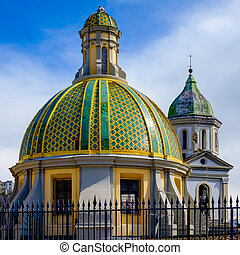 The dome and the bell tower of San Vincenzo church in Naples...
