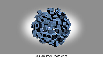 3D rendering of white cubes with nice background color