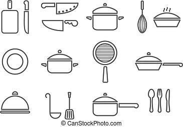 kitchenware line icons - kitchenware line icon set cookware...