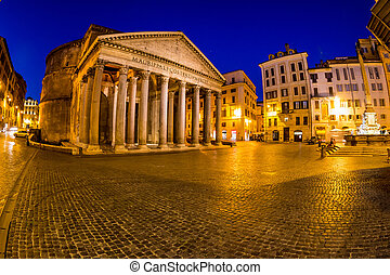italy, rome, pantheon night scene with fountain