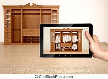 concepto, clásico, de madera, Ilustración, guardarropa,  3D