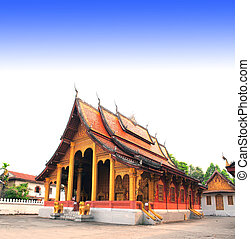 Temple in a traditional laotian style in Luang Prabang, Laos...