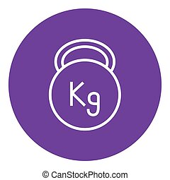 Kettlebell line icon - Kettlebell thick line icon with...