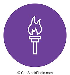 Burning olympic torch line icon - Burning olympic torch...
