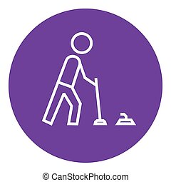 Curling line icon - Curling thick line icon with pointed...