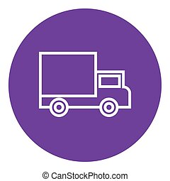 Delivery van line icon - Delivery van thick line icon with...