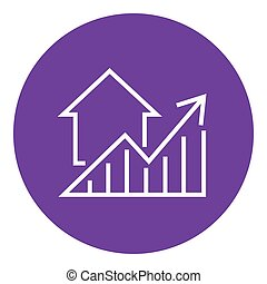 Graph of real estate prices growth line icon. - Graph of...