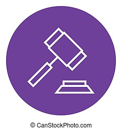 Auction gavel line icon - Auction gavel thick line icon with...