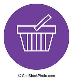Shopping basket line icon - Shopping basket thick line icon...