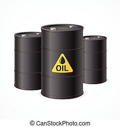 Oil Barrel Drums. Vector - Black Oil Barrel Drums with...