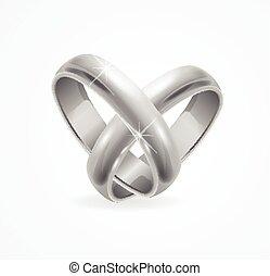 Silver Wedding Ring. Vector