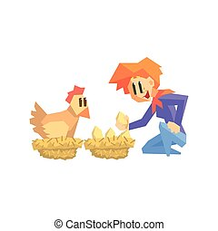 Girl Collecting Chicken Eggs Primitive Geometric Cartoon...