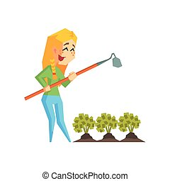 Girl Chopping Garden Bed Primitive Geometric Cartoon Style...