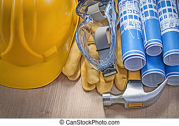 Composition of construction tools on wood board horizontal versi