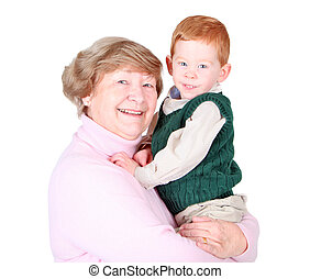 Grandmother with grandson - Grandmother holding a happy...