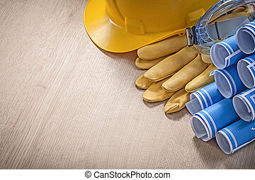 Set of building helmet protective gloves spectacles...