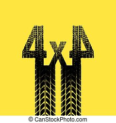 Yellow tire track 4x4 background - Yellow background with...