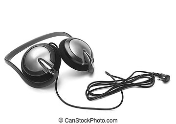 Earphones on white background