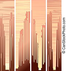 Vertical banners of city at sunset.