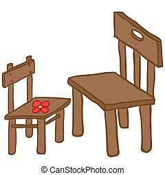 chairs - small and big chair cartoon illustration