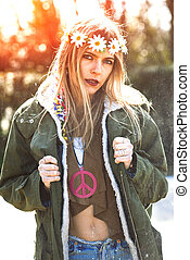 Girl hippie revolutionary 1970 style Picture ruined...