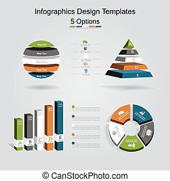 Set of infographics design template with 5 options. Vector...