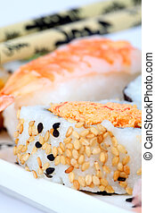 Sushi plate - Mixed sushi on a plate with shallow depth of...