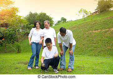 Asian three generation family inspecting leaf with...