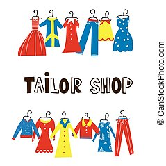 Tailor and sewing shop background with clothes
