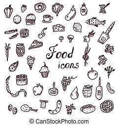 Hand drawn food icons, funny style set - illustration