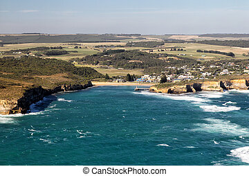 Port Campbell - Aerial view of Port Campbell at the Great...
