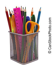 Markers and accessory in black basket - Markers, pen, pencil...