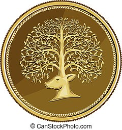 Deer Head Tree Antler Gold Coin Retro - Illustration of a...