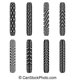Bikes tire tracks - Set of eight black byke tire tracks...