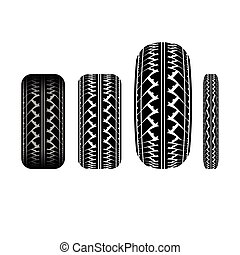 Tire track 1 - Set of different tire track silhouettes...