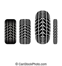 Tire track 3 - Set of four different tire tracks isolated