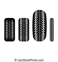 Tire track 4 - Set of four tire tracks isolated on white...