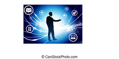 Businessman on Abstract Modern Light Background