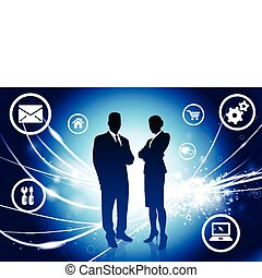 Business Couple on Abstract Modern Light Background Original...